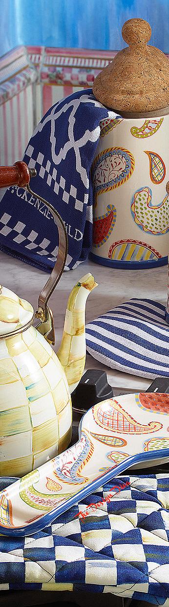 Blue & White Zig Zag Dish Towels - Set of 3 via  The Design Diva