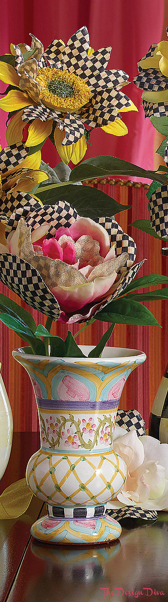 Taylor Vase - Hitchcock Field & Courtly Check Peony - Pink via  The Design Diva