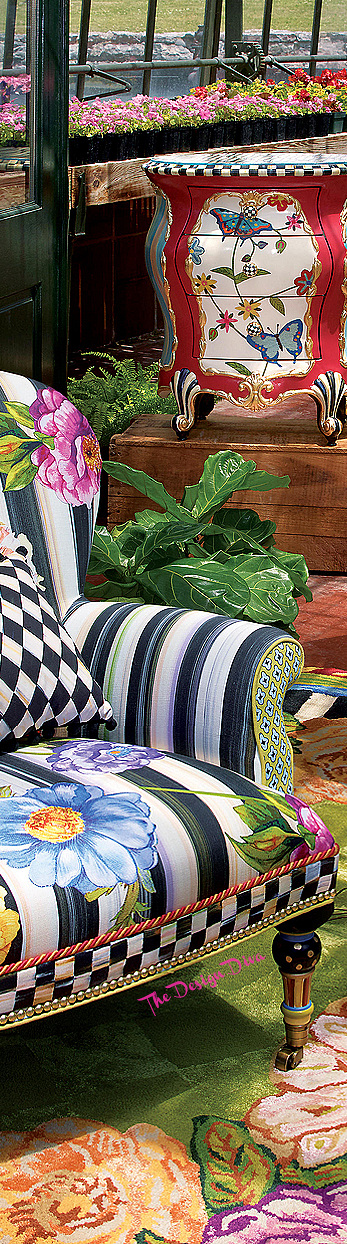 Cutting Garden Accent Chair & Butterfly Accent Chest  via  The Design Diva
