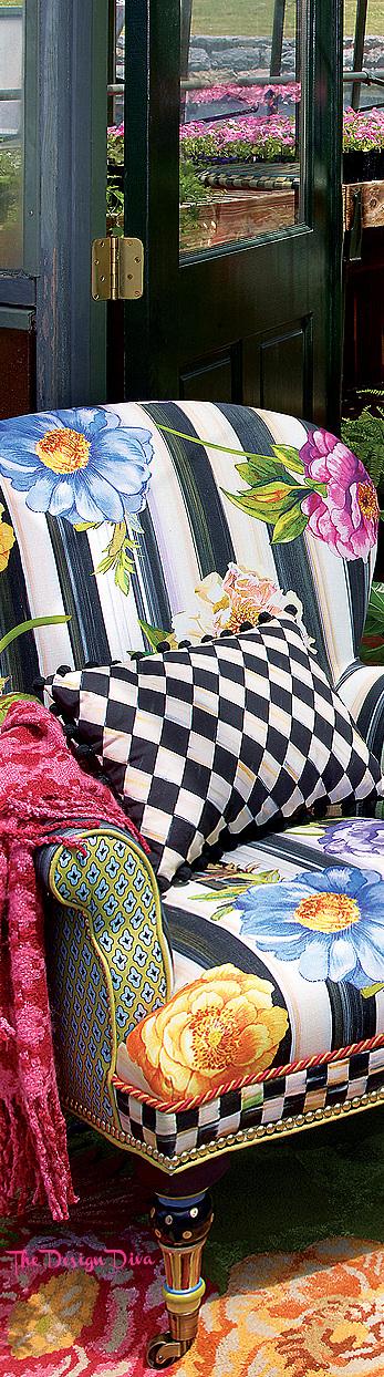 Cutting Garden Accent Chair & Courtly Harlequin Pom Pom Lumbar Pillow - Black via  The Design Diva