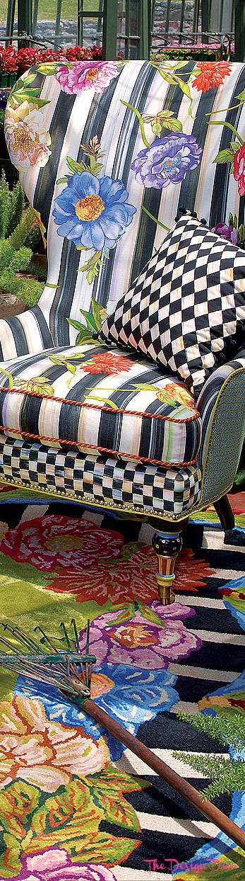 Cutting Garden High Back Wing Chair Cutting Garden Rug via  The Design Diva