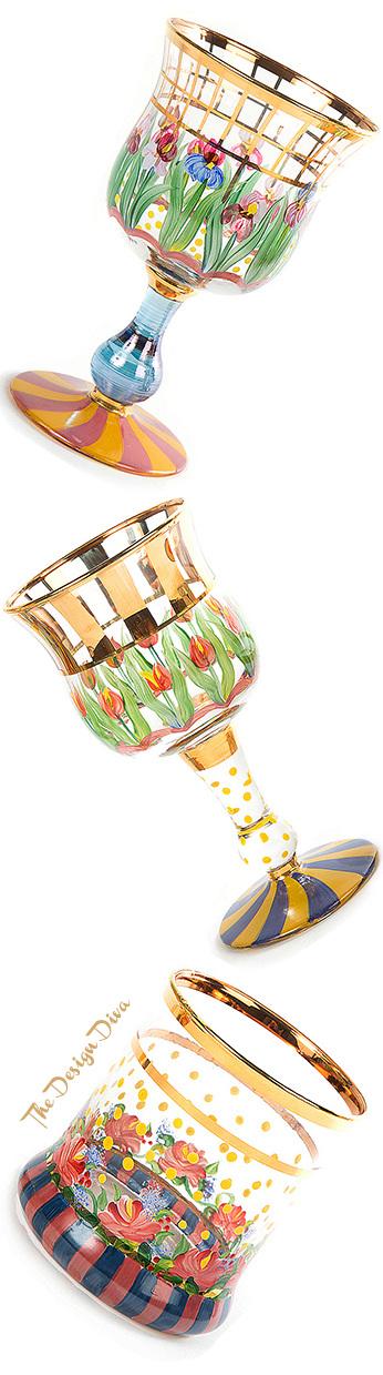 Bearded Iris Water Glass, Aalsmeer Wine Glass & Rose Tumbler
