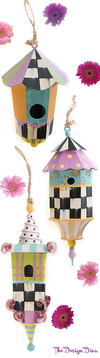 Spring Birdhouse Ornaments - Set of 3 via  The Design Diva