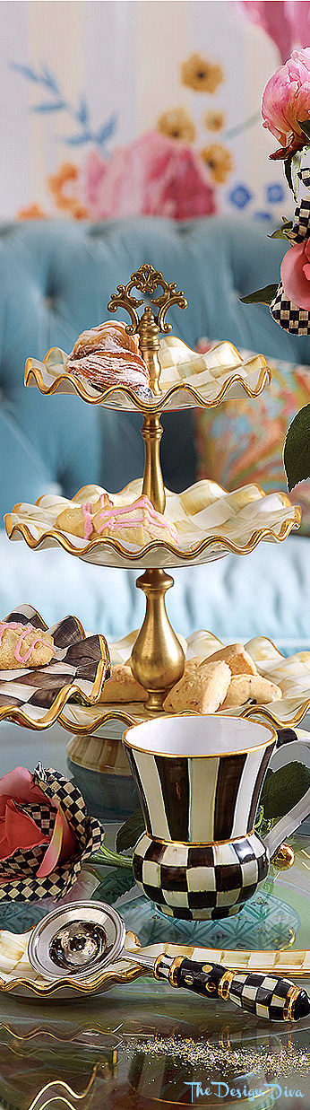 Parchment Check Three Tier Sweet Stand via  The Design Diva