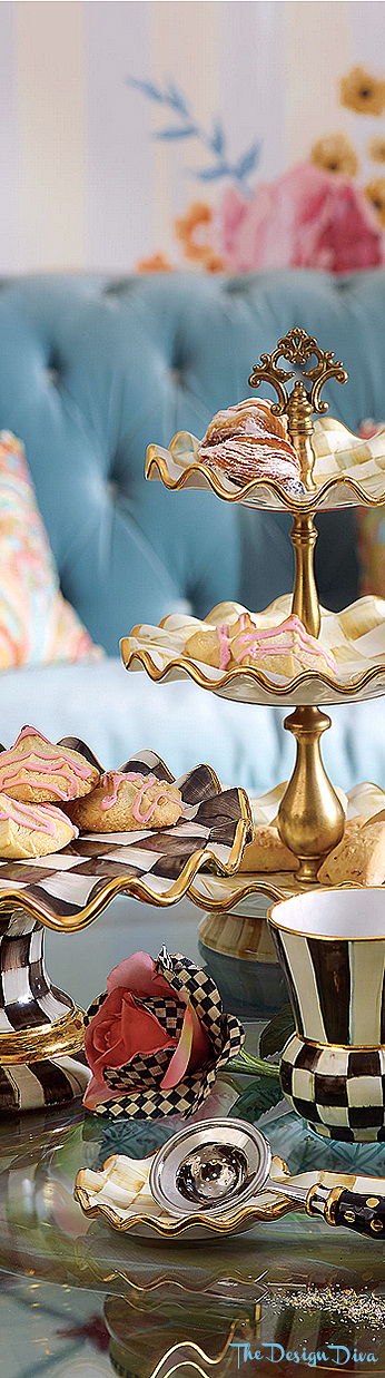 Courtly Check Fluted Cake Stand via  The Design Diva