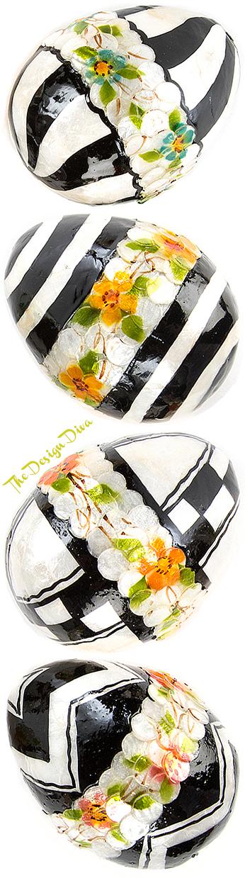 Black & White Floral Eggs - Medium - Set of 4 via  The Design Diva