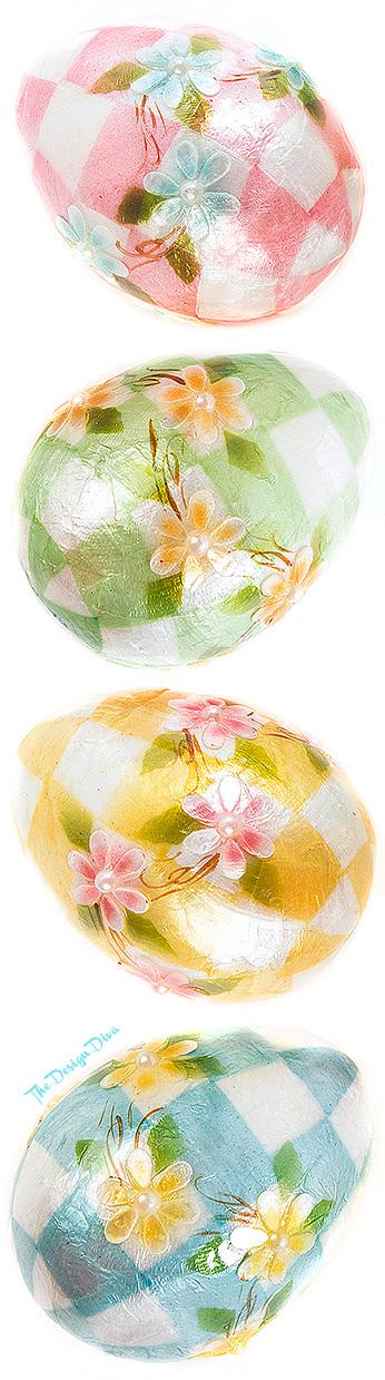 Pastel Floral Eggs - Medium - Set of 4 via  The Design Diva