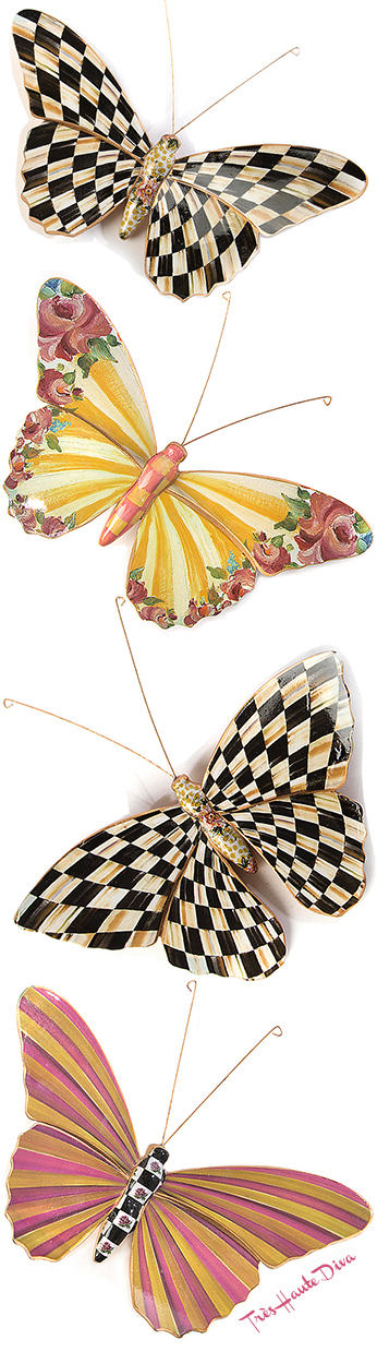 Butterfly Duo Courtly Check & Garden  via The Design Diva