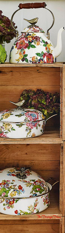 Flower Market 3 Qt. Tea Kettle with Bird via  The Design Diva