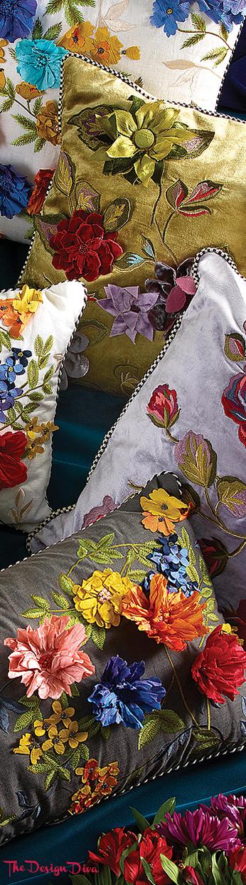Covent Garden Floral Lumbar Pillow via  The Design Diva