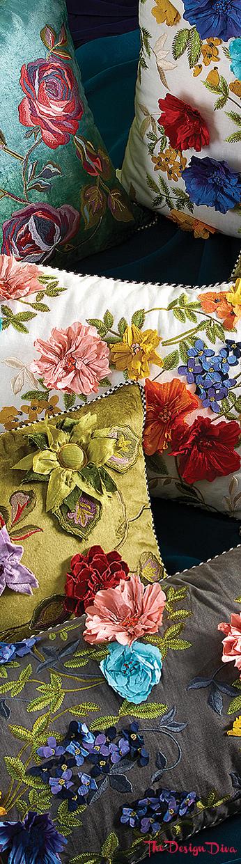 Greengage Floral Pillow via  The Design Diva
