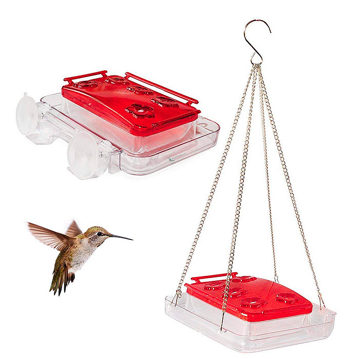 Cuboid - Insect-proof Hummingbird Feeder 2-in-1 Attached to Window or Hung on Tree