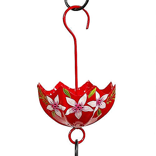 Parasol ANT Moat for Hummingbird Feeder Red Botanical Handpainted by Par*A*Sol