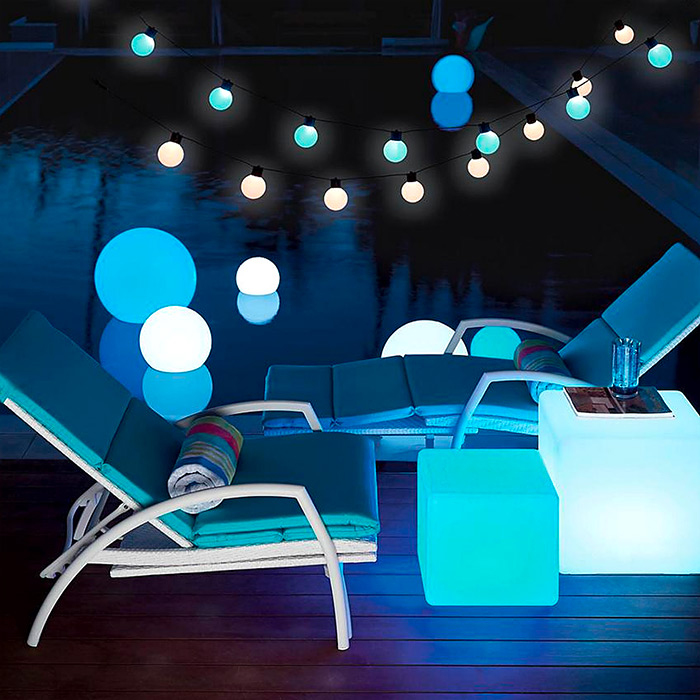 LED Cube Seat & LED Color Changing Glow Balls