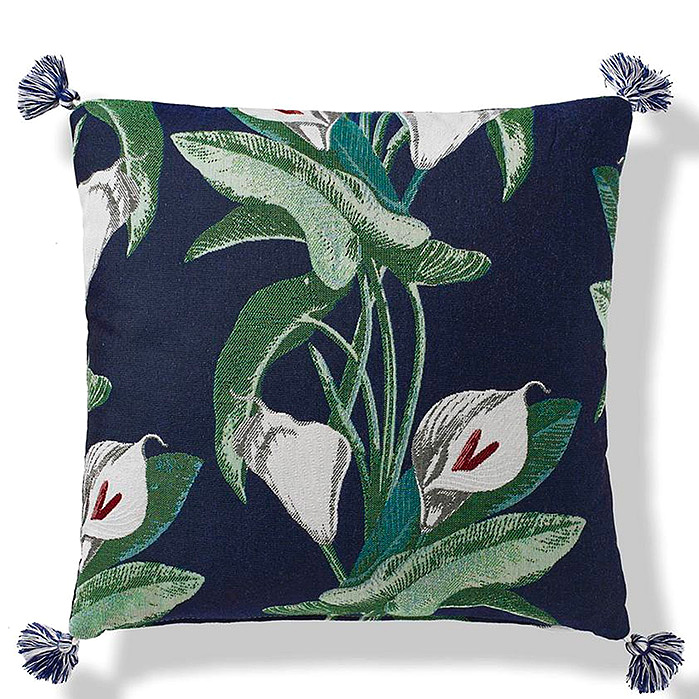 Calla Lily Outdoor Pillow in Midnight