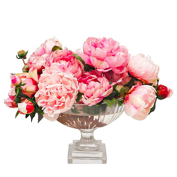 Mixed Peony in Stripe Cut Bowl