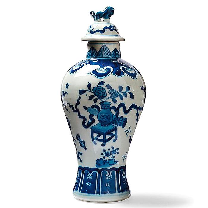 Blue Ming Lidded Temple Jar