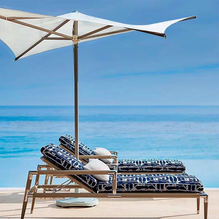 Vela Umbrella &  Terra Mar Chaises with Cushions