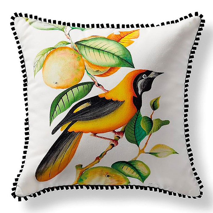 Handpainted Jamaican Oriole Pillow