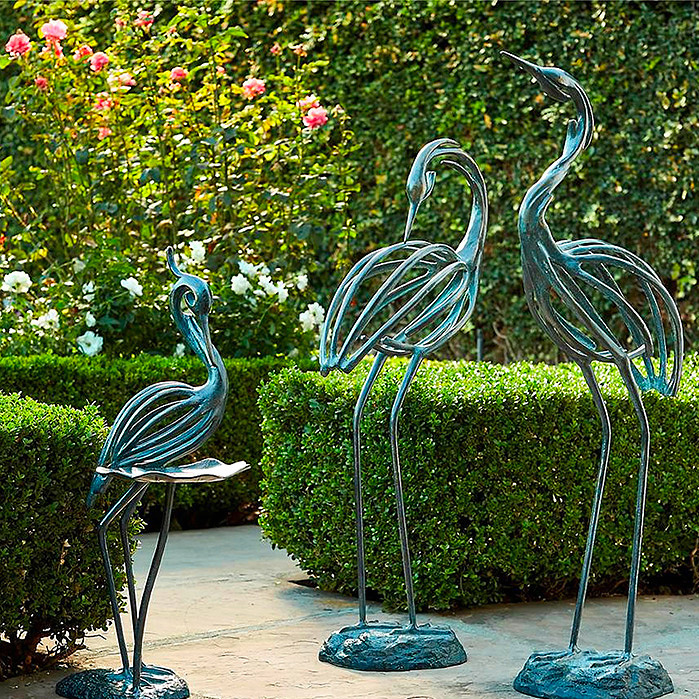 Stylized Heron Sculptures