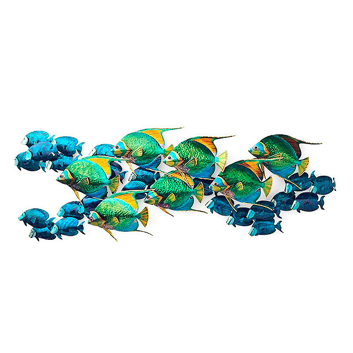 Angelfish with Blue Tangs Wall Sculpture by Copper Art