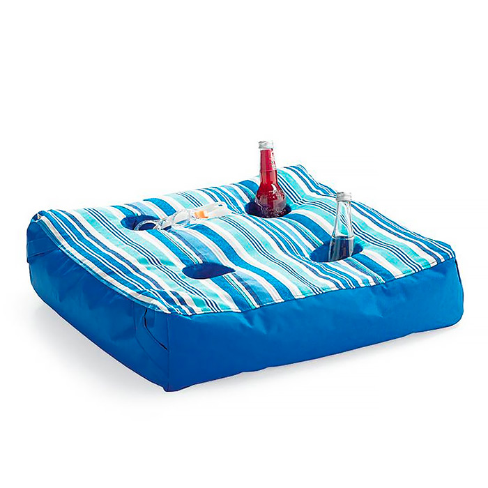 Oasis Pool Ottoman in Marina Stripe Aqua