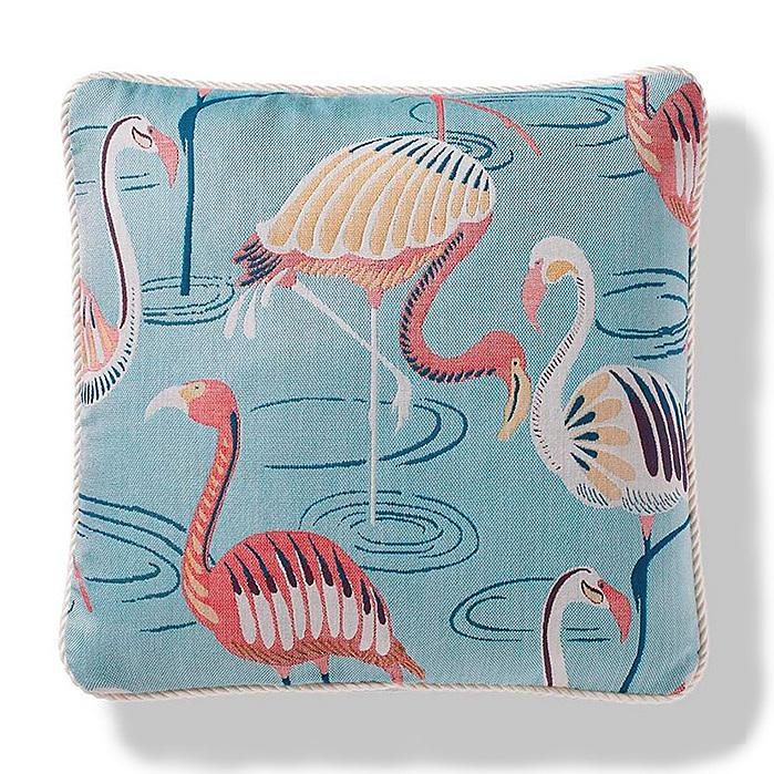 Flamingo Oasis Indoor/Outdoor Pillow in Aqua