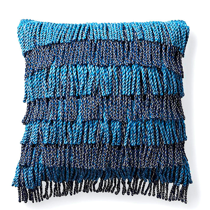 Bullion Fringe Indigo Outdoor Pillow
