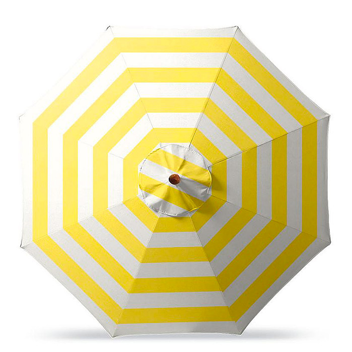 Round Market Umbrella in Resort Stripe Sunshine