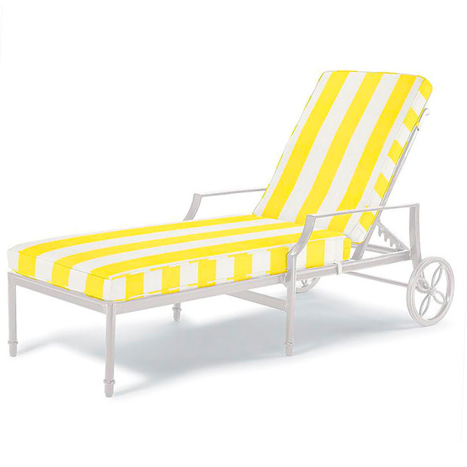 Grayson Chaise Lounge in White Finish with Resort Stripe Sunshine Cushions