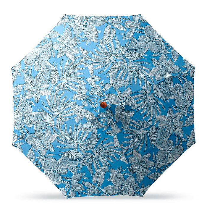 11' Round Outdoor Market Umbrella in Bermuda Breeze Indigo
