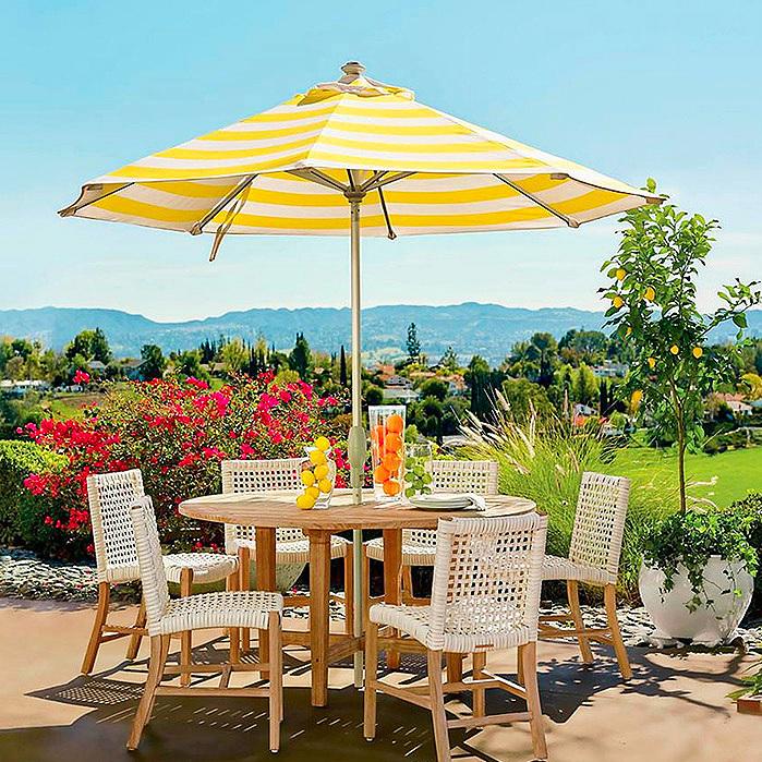 9' Round Outdoor Market Umbrella in Resort Stripe Sunshine