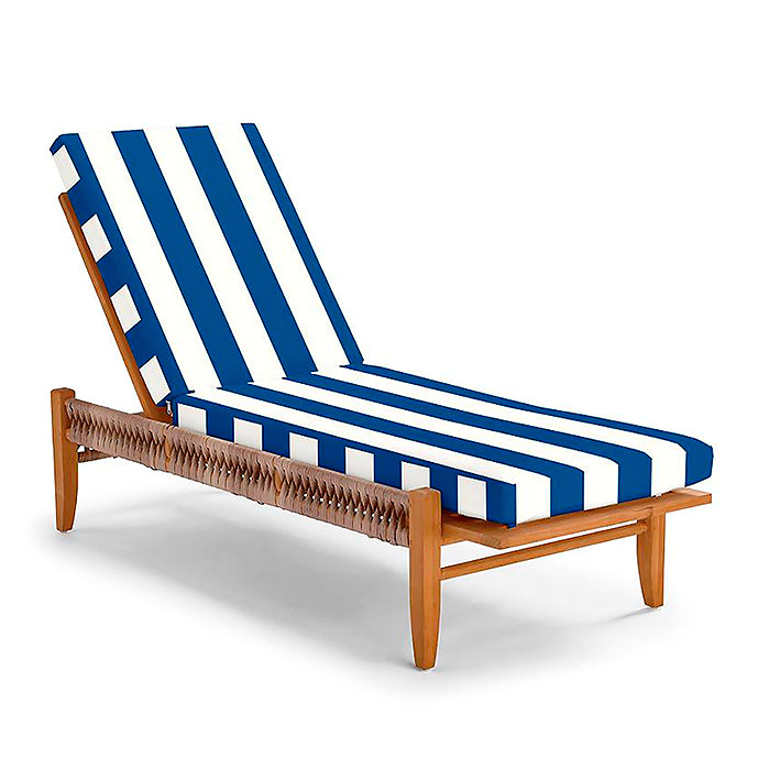 Laguna Chaise with Cushions in Resort Stripe Cobalt