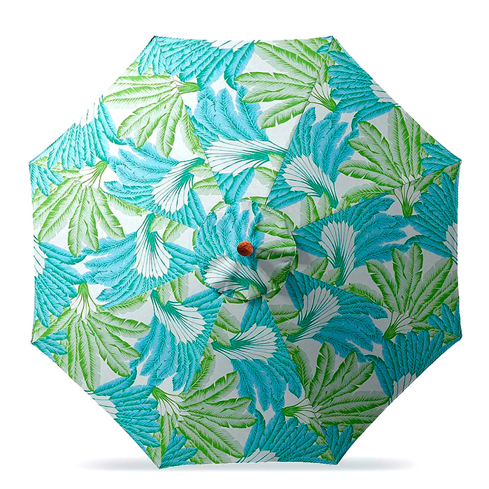 11' Round Outdoor Market Umbrella in Atherton Palm Seaglass