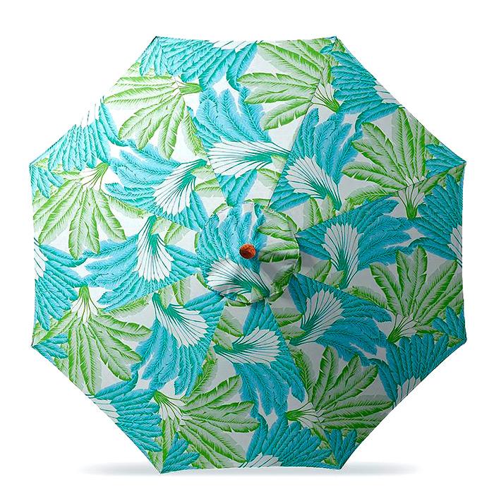 11' Round Outdoor Market Umbrella in Atherton Palm Seaglass