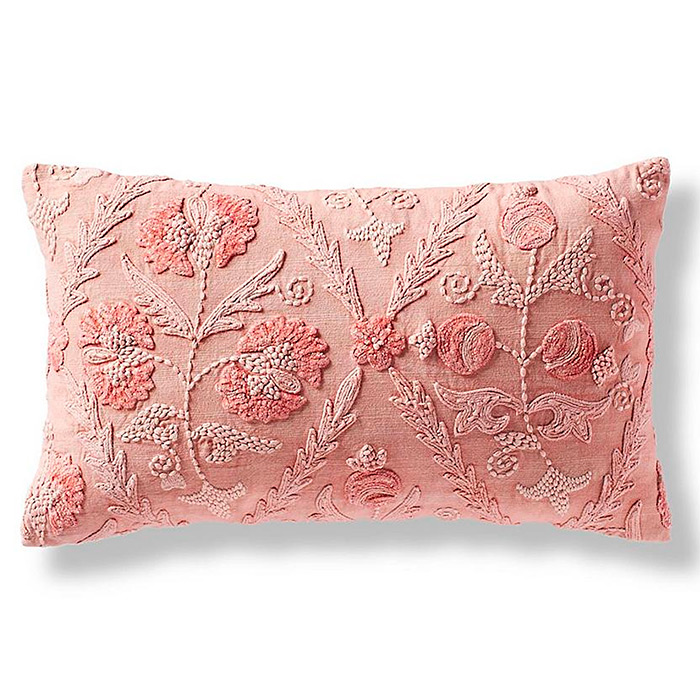 Nora Floral Lumbar Decorative Pillow Cover in Petal