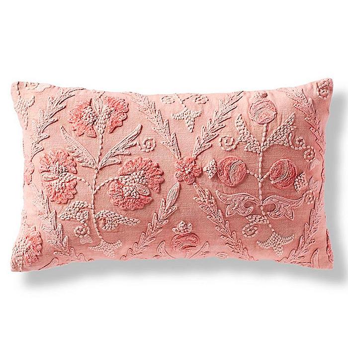 Nora Floral Lumbar Decorative Pillow Cover in Petal