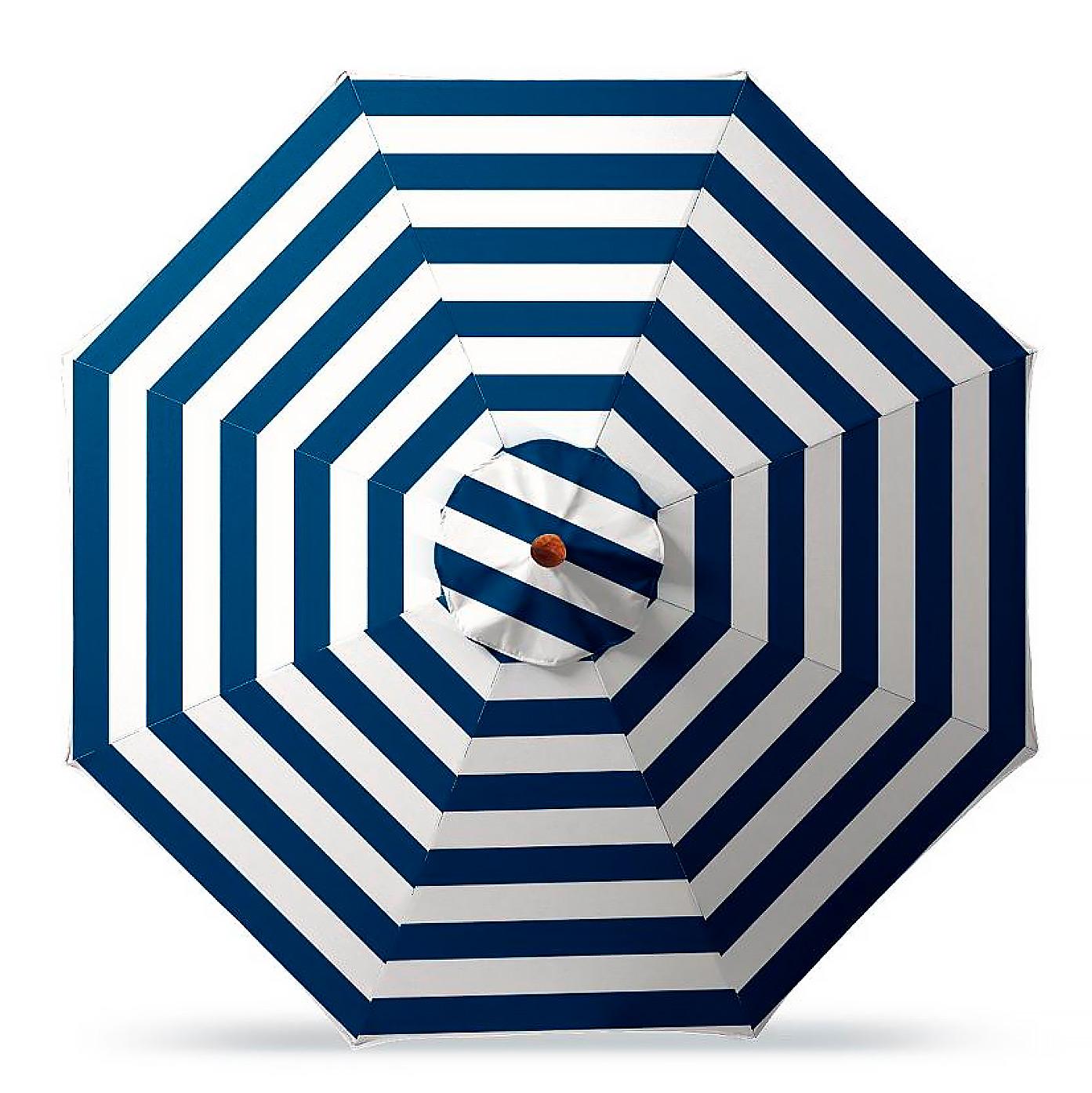 11' Round Outdoor Market Umbrella in Resort Stripe Cobalt