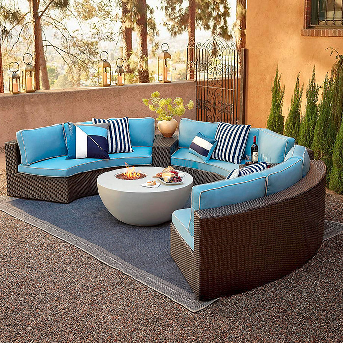 Pasadena 5-pc. Sofa Set in Bronze Finish, Cushions in Air Blue with Canvas Piping