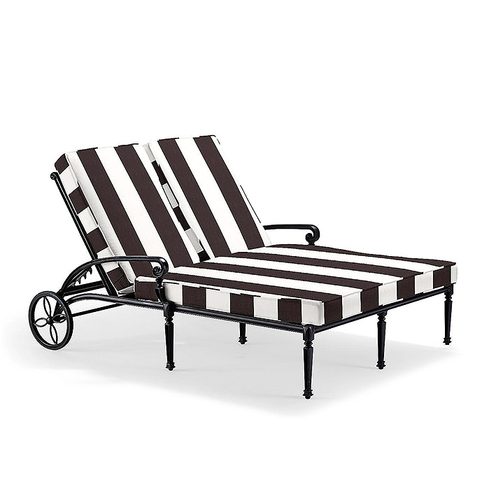 Carlisle Double Chaise Lounge in Onyx Finish with Cushions in Resort Stripe Black