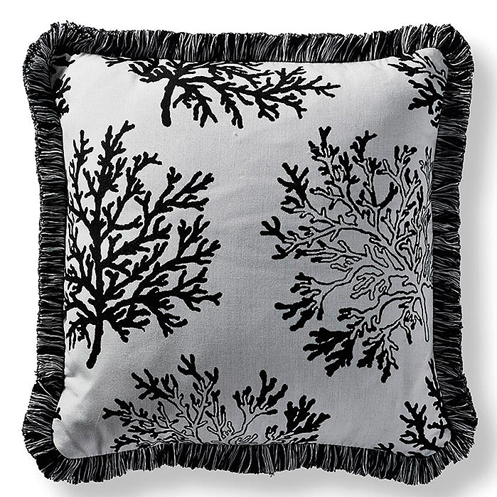 Floating Coral Square Outdoor Pillow in Onyx