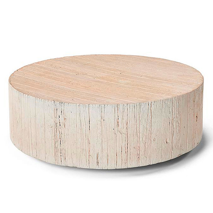 Copy of Barrel Wood Coffee Table in Roman Stone