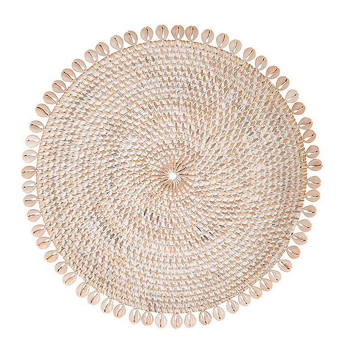 Copy of Capiz Woven Rattan Placemats, Set of Four in Bone