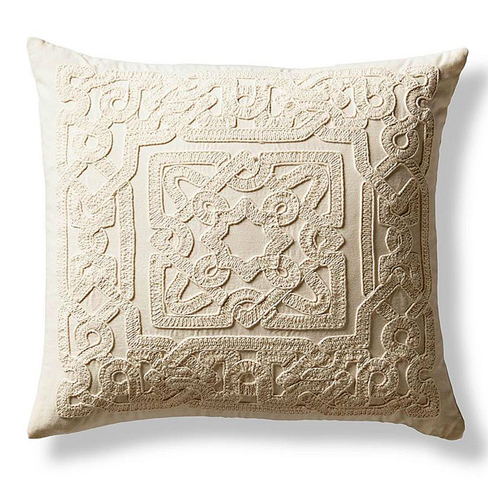 Copy of Nora Embroidered Trellis Decorative Pillow in Ivory
