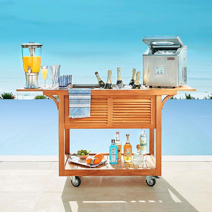 Copy of Teak Bar Cart with Beverage Tub