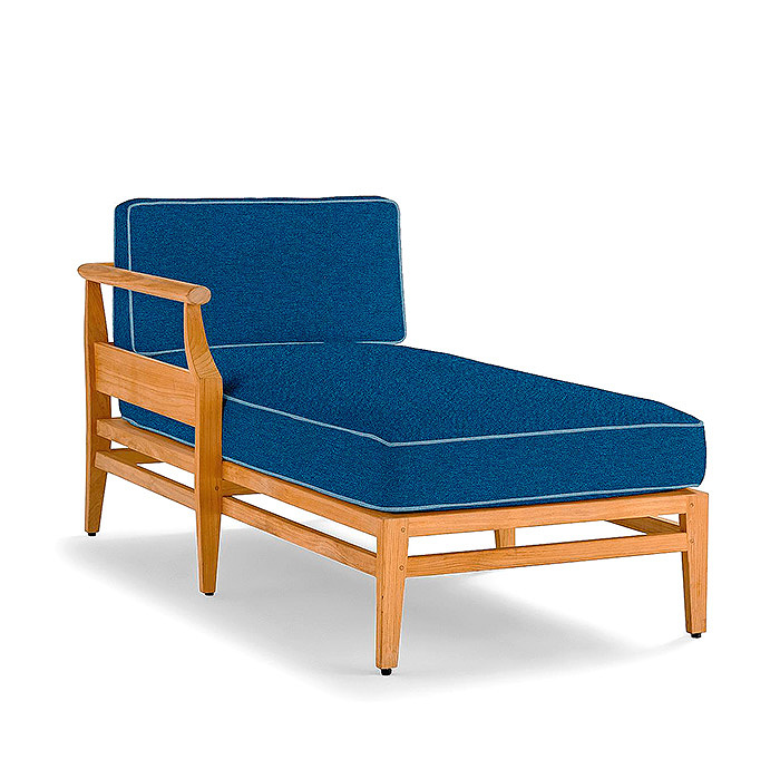 Copy of Tambora Left-facing Chaise with Cushions in Rumor Midnight with Sailcloth Indigo Piping