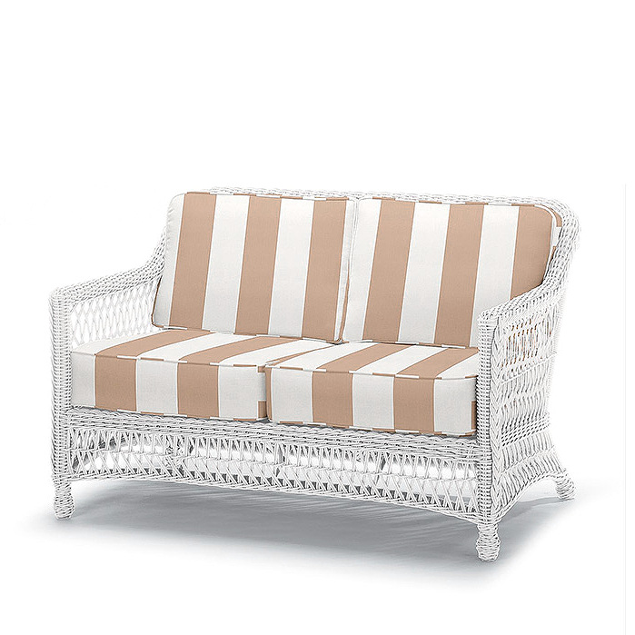 Copy of Hampton Loveseat in Ivory Finish with Cushions in Resort Stripe Sand Rain