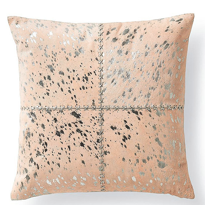 Copy of Silver Metallic Stitched Hide Decorative Pillow