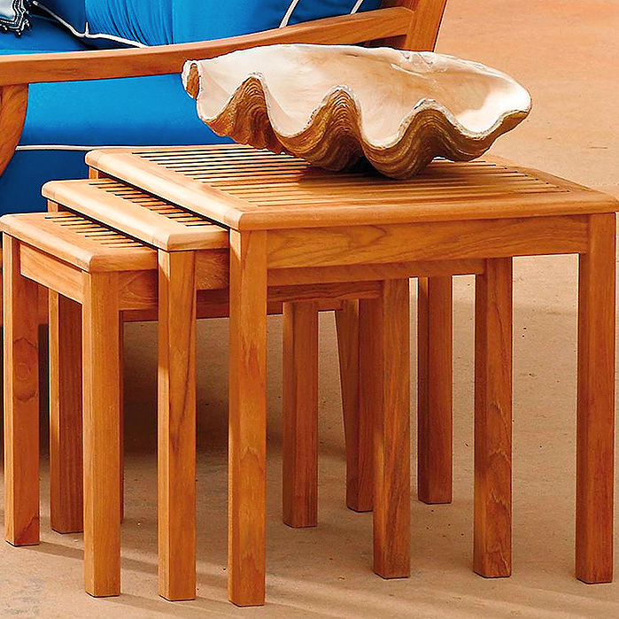Copy of Teak Nesting Tables, Set of Three in Natural Finish
