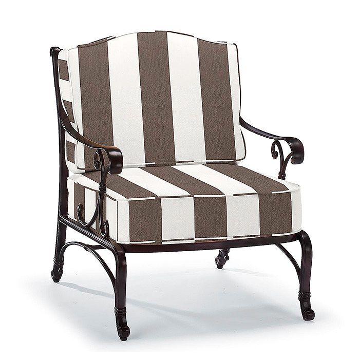 Copy of Orleans Lounge Chair in Chocolate Finish with Cushions in Resort Stripe Mink
